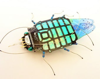 The Turquoise Shimmer Bug, Computer Component Insect by Julie Alice Chappell