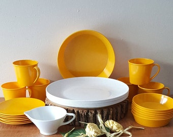 Melamine Dinnerware Summer Yellow Plates Cups Saucers Bowls Serving Pieces Mid Century Modern 26 Piece Set for 6 Melmac Dinnerware & Mid century melamine | Etsy
