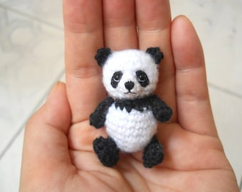Panda Bear Amigurumi - Crochet Miniature Bear Stuffed Animals - Made To Order