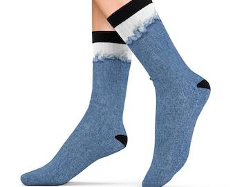 Ripped Frayed Denim Design Printed Sublimation Socks
