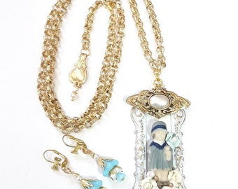 Long Charlotte doll Necklace set, Gold with blue and White, vintage collage,  earrings, great jewelry gift