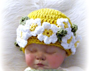 Flower Child Daisy Beanie Crochet Pattern Infants to Adult sizes PDF 301