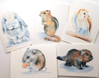 Watercolor Card Set Woodland Animals - Greeting Card Set of 5 - 5 x 7 - Cards and Envelopes
