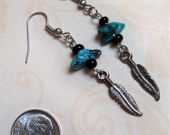 Feathers and Turquoise Earrings