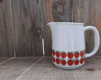 """Vintage Signed Ceramic Pitcher // Arabia of Finland Strawberries Pattern // 6"""" Height // Marked 8-66 FL-3"""