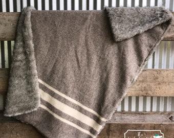 SOLD! Hand Woven Wool Heritage Blanket w/ Faux Fur