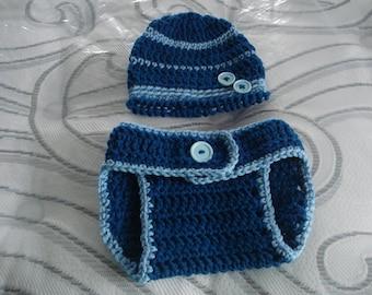 Crochet Diaper Cover, Baby boy diaper cover hat set,  photo prop, blue diaper cover set, crochet hat, baby shower gift