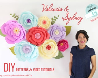 DIY Giant Paper Flower Patterns & Video Tutorial - Valencia and Sydney PDF, svg, png