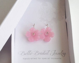 bridesmaid small earrings, blush pink earrings, delicate flower jewelry, pink bridesmaid gifts, GIFTS UNDER 20, bridesmaids pink earrings