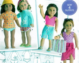 Simplicity 8190 Sewing Pattern, American Girl, 18 inch Doll Clothes, Sew Four Outfits, Bathing Suit, Tops, Shorts, Wrap Skirt, Tote and Hat
