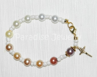 Ombre Rosary Bracelet Gift, Crucifix Charm, Colored Pearls Glass Bead Bracelet