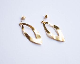 Leaf -earrings (16k gold plated textured beaten wavy leaves drop earrings)
