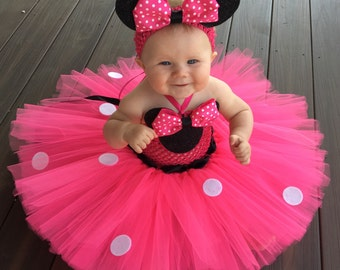 Classic Minnie Mouse Inspired Tutu Dress, Minnie Mouse Costume, Minnie Mouse Birthday Outfit, Hot Pink Minnie Mouse