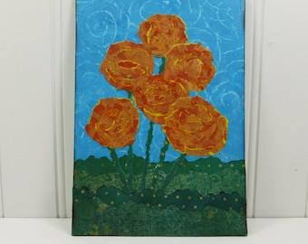 Whimsical Orange Flowers Torn Paper Painting, Summer Rose Garden 5 x 7 Mixed Media