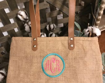 Girls burlap beach tote