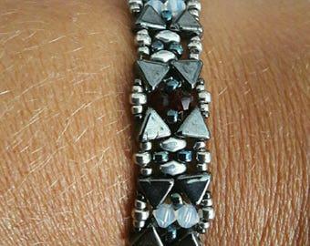 KHEOPS® black and silver and swarovski crystal bracelet