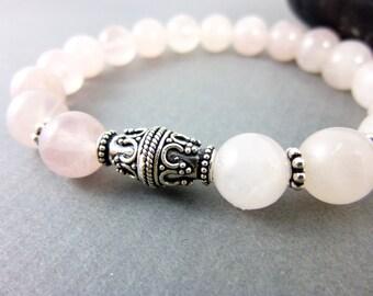Heart Chakra Bracelet, Rose Quartz Bracelet, Sterling Silver & Pink Gemstone Bracelet, Healing Energy Chakra Jewelry, Pantone Rose Quartz