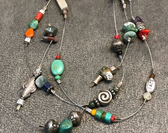 """18"""" Vintage Sterling silver handmade necklace, 925 silver beads embossed """"Joy, faith, peace"""" with turquoise and coral"""