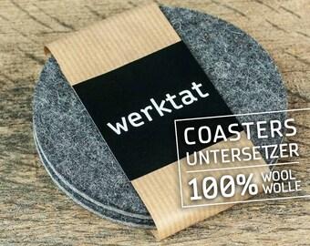 """round felt coasters, Ø 10 cm/3,93"""", bicolor gray"""