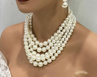 Pearl necklace earrings, bridal jewelry set, Wedding jewelry set , bridesmaids jewelry set, Ivory pearl jewelry, bridesmaid necklace