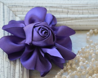 """Satin Fabric Roses, Rolled Rosettes, Purple Eggplant Satin Rolled Rosettes, 3"""" Satin Roses, Rolled Roses, Rolled Satin Roses, A9"""
