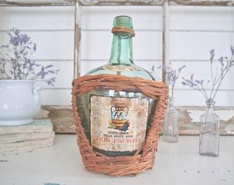 Vintage Green Wine Bottle in Wicker with Original Label, Spanish Chablis, Rioja White Wine