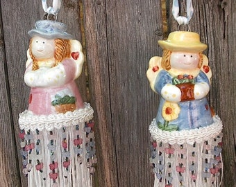 Ready to Ship - Pair of  COUNTRY ANGELS TASSELS - Made from Salt and Pepper Shakers - For Lamps, Curtain tie-backs, Door knobs