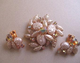 Rhinestone Brooch Pin Vintage Gorgeous Beau Jewels Signed Mottled Faux Pearl Earrings Demi Parure costume jewelry MoonlightMartini