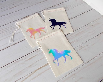 Unicorn Favor Bag, Girls Birthday Party, Thank You Bag, Holographic Unicorn, Muslin Favor Bags, Unicorn Party, Swag Bag