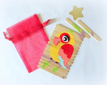Puzzle for kids, Parrot puzzle, Wooden parrot puzzle, Children's puzzle, Hand painted puzzle, Busy bag activity, Travel game, gift for kids
