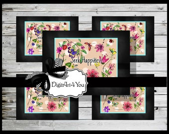 Digital collage/Flowers/Happy/Happiness/Inspiring Words/Polka Dots/Cute/Roses/Daisies/Digital/Art/Inchies/Dominoes/1 x 1/1 x 2/Collage
