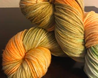 "100g/218 yards Hand-Dyed Self-Striping Superwash Merino Wool Yarn ""Dandelion"" Worsted Weight READY TO SHIP!"
