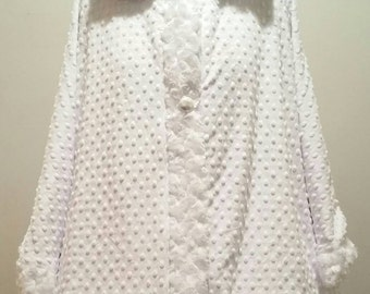 Long Hood Cape Minky Fleece Winter / Bridal / Lolita / Poncho / Caplet / Wedding / Customized