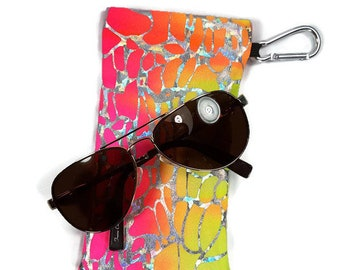 Sunglasses Glasses Case Snappy Snap Closure Pink Orange and Yellow Tye-Dye with Silver Hologram Print by Bunzo Co