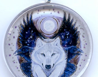 White Wolf and Ravens Pendant