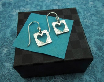 Live With An Open Heart Sterling Earrings - Valentine's Day - Heart Jewelry - Love Jewelry - Silver Heart