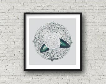 Floral Agate Clock, Geology Photography, Floral Art, Home Decor, Original Art by AMissMess