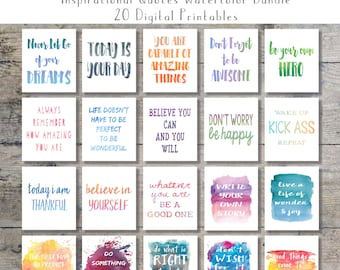 inspirational office decor. Inspirational Quotes Watercolor Art Bundle - Set Of 20 Printables Wall Office Decor O