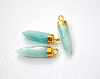 One Amazonite Gold Dipped Bullet Point Pendant  23 x 5mm