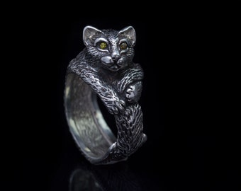 Cat Ring, sterling silver, handmade
