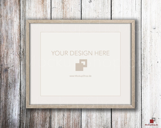 Weathered brown MOCKUP PHOTO FRAME on old white wooden wall, Frame Mockup, Amazing browm photo frame mockup, Empty Frame, Digital Download
