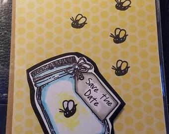 Handmade Mason Jar Save The Date Wedding Inspired Blank Inside Anniversary greeting card glitter coffee with matching envelope