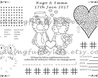 FRENCH Wedding Activity PDF, Kids Placemat, You Choose Genders and Animals, Your Names & Date. Coloring, Maze, Dot to Dot.