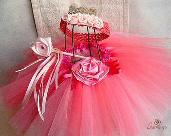 Fairy Princess Coral Tutu Set, 3T  size Princess Fairy Tutu with tiara and fairy wand, Dress-up PrincessTutu, Tutu with Flower