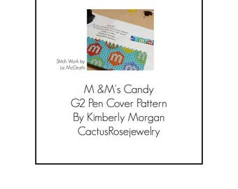 M & M's Candy G2 Pen Cover Pattern Even Count Peyote Instant Downloading PDF