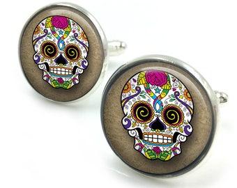 Sugar Skull Cufflinks, day of the dead, dia de los muertos, skull, cuff links 5