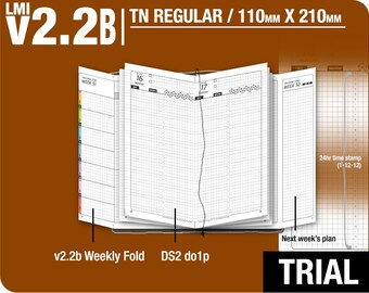 Trial [TN regular v2.2B w DS2 do1p] July to September 2018 - Midori Travelers Notebook Refills Printable Planner.