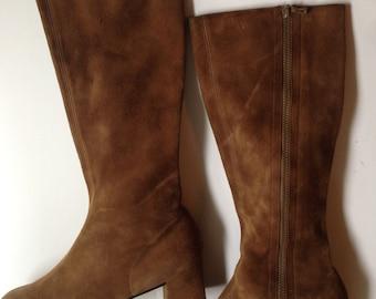 Vintage New Brown Go Go Boots Suede 7.5
