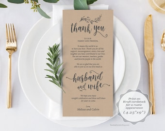 Wedding Place Setting Thank You Card, Instant Download Editable PDF Template, Kraft rustic calligraphy design, first meal dinner (TED418_50)