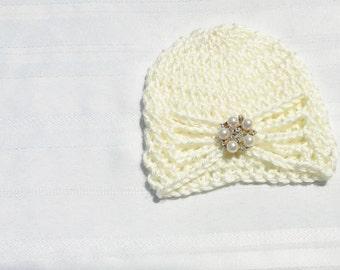 Baby Girl Hat - Newborn Crochet Hat, White Baby Girl Hat, Hat for Baby, Photo Prop, Newborn Hat, Toddler Hat, Child Hat, Infant Hat